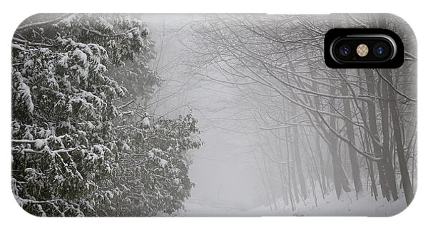 Snowy Road iPhone Case - Foggy Winter Road by Elena Elisseeva