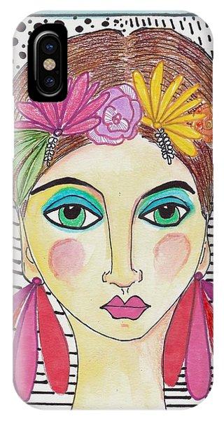 Folk Girl Pattern IPhone Case