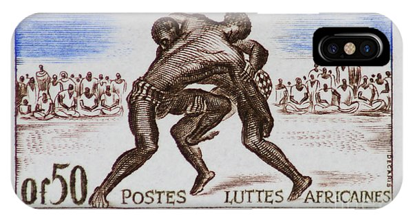 Folk Wrestling Vintage Postage Stamp Print IPhone Case