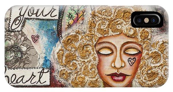 Follow Your Heart Inspirational Mixed Media Folk Art IPhone Case