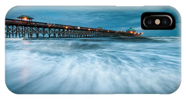 Folly Beach Pier Charleston Sc - Folly Beach Blues IPhone Case