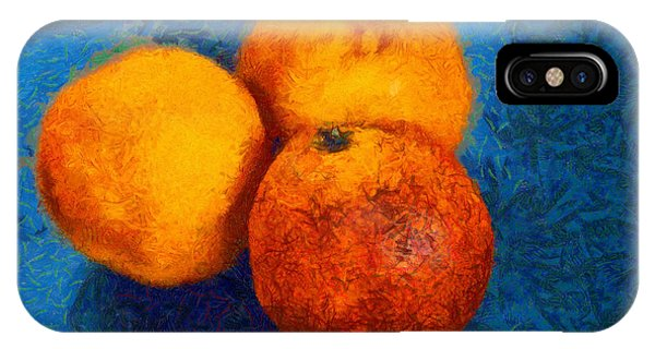 Food Still Life - Three Oranges On Blue - Digital Painting IPhone Case