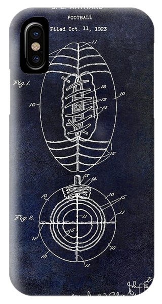 1925 Football Patent Drawing Blue IPhone Case