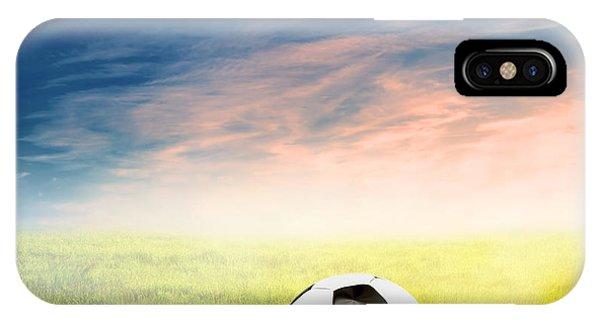 Football Soccer Ball On Green Grass IPhone Case
