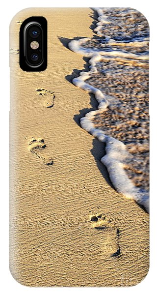 Beach iPhone Case - Footprints On Beach by Elena Elisseeva