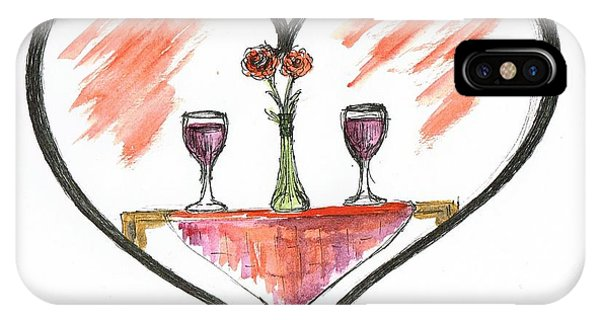 Table For Two iPhone Case - For Two by Teresa White
