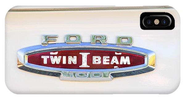 100 iPhone Case - Ford 100 Twin I Beam Truck Emblem by Jill Reger