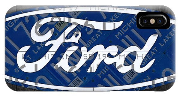 Ford Motor Company Retro Logo License Plate Art IPhone Case