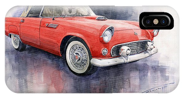 Car iPhone X Case - Ford Thunderbird 1955 Red by Yuriy Shevchuk