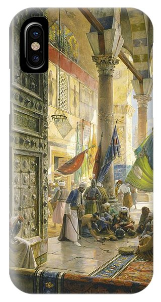 Forecourt Of The Ummayad Mosque, Damascus, 1890 Oil On Panel IPhone Case