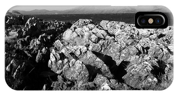 Foreground Rocks And Background Mountains IPhone Case