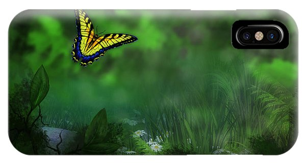 Forest Glade Butterfly Background IPhone Case