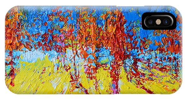 IPhone Case featuring the painting Tree Forest 2 Modern Impressionist Landscape Painting Palette Knife Work by Patricia Awapara