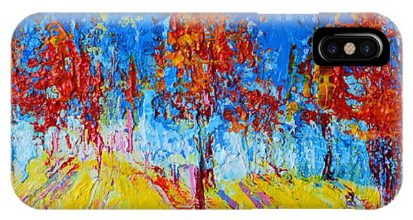 IPhone Case featuring the painting Tree Forest 4 Modern Impressionist Landscape Painting Palette Knife Work by Patricia Awapara
