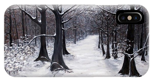 Forest Path In Winter IPhone Case