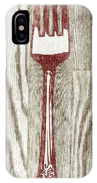 Fork iPhone Case - Fork And Spoon On Wood I by Sd Graphics Studio