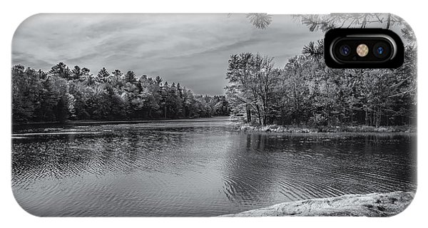 IPhone Case featuring the photograph Fork In River Bw by Mark Myhaver