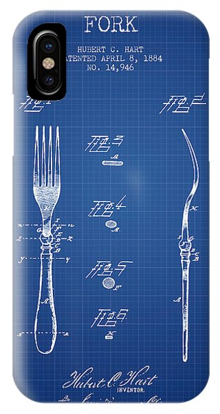 Fork iPhone Case - Fork Patent From 1884 - Blueprint by Aged Pixel