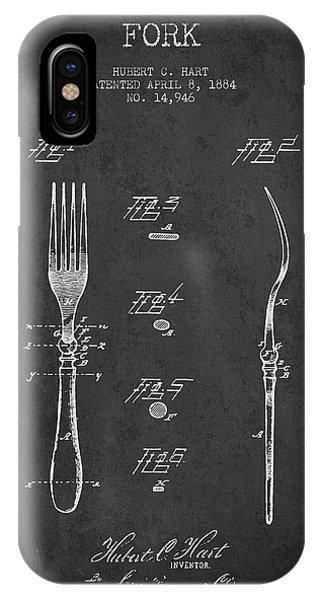 Fork iPhone Case - Fork Patent From 1884 - Dark by Aged Pixel