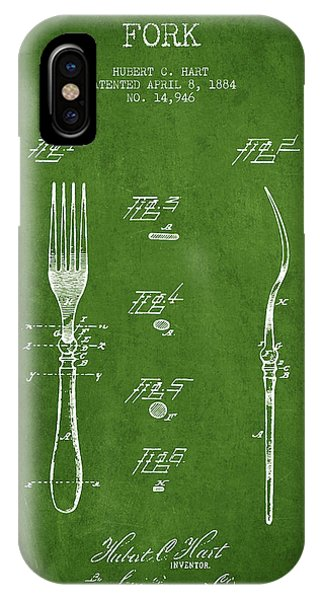 Fork iPhone Case - Fork Patent From 1884 - Green by Aged Pixel