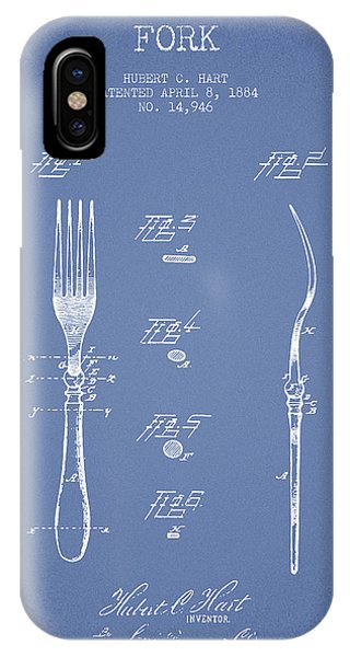 Fork iPhone Case - Fork Patent From 1884 - Light Blue by Aged Pixel
