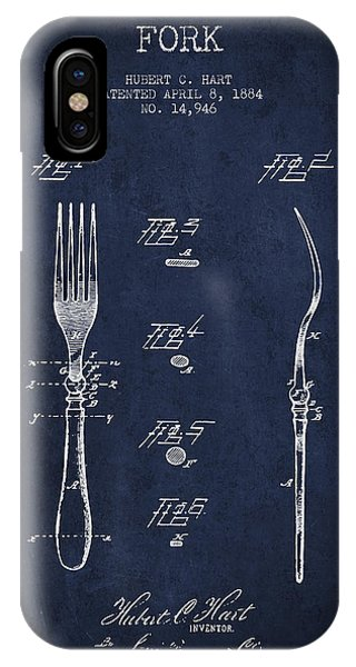 Fork iPhone Case - Fork Patent From 1884 - Navy Blue by Aged Pixel
