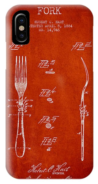 Fork iPhone Case - Fork Patent From 1884 - Red by Aged Pixel