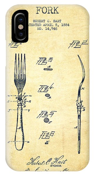 Fork iPhone Case - Fork Patent From 1884 - Vintage by Aged Pixel