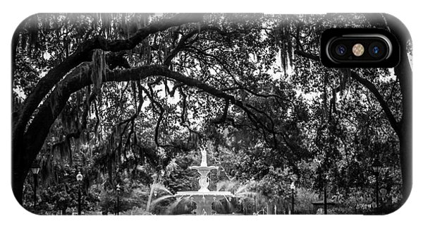 White Fence iPhone Case - Forsyth Park by Perry Webster