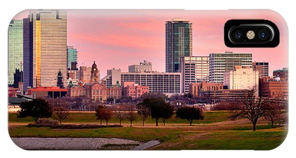 Fort Worth Skyline At Dusk Evening Color Evening Panorama Ft Worth Texas  IPhone Case