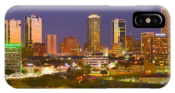 Fort Worth Skyline At Night Color Evening Panorama Ft. Worth Texas IPhone Case