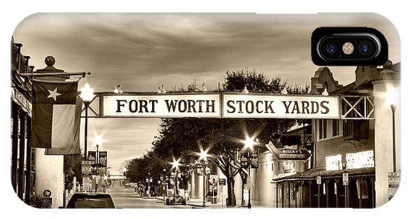 Fort Worth Stock Yards In Sepia IPhone Case