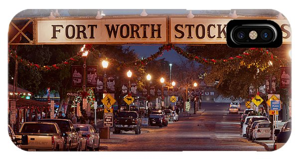 Fort Worth Stock Yards Night IPhone Case