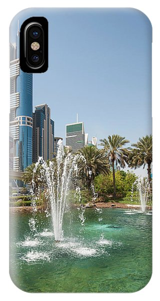 Condo iPhone Case - Fountain And Downtown Skyline Of Dubai by Michael Defreitas