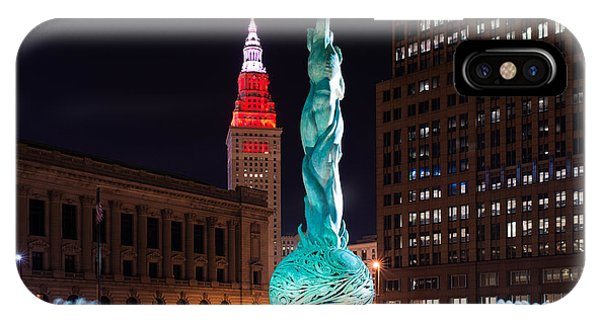 Fountain And Terminal Tower In Red 2 IPhone Case