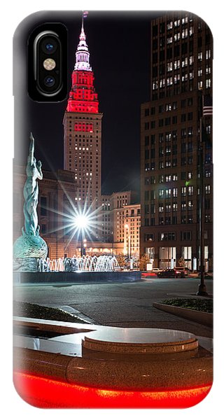 Fountain And Terminal Tower In Red IPhone Case