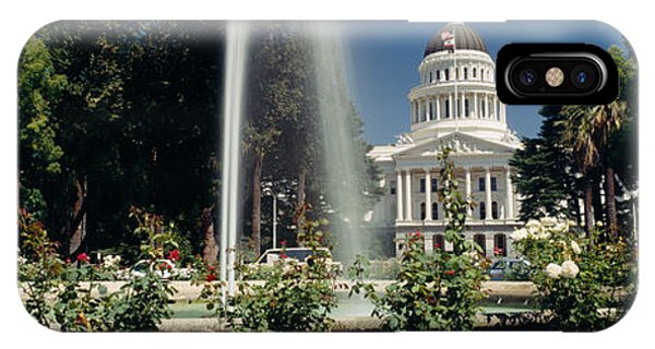 Capitol Building iPhone Case - Fountain In A Garden In Front by Panoramic Images