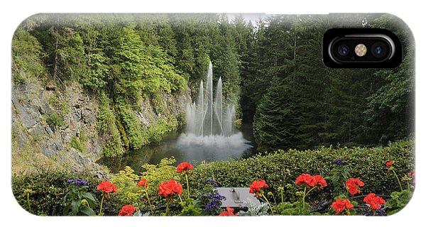 Fountain In Butchart Gardens IPhone Case