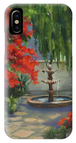 Bougainvillea iPhone Case - Relaxing In The Courtyard by Maria Hunt