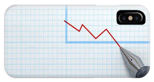 Achievement iPhone Case - Fountain Pen Drawing Declining Graph by Allan Swart