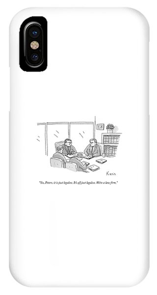 Four Lawyers Speak At A Conference Table IPhone Case