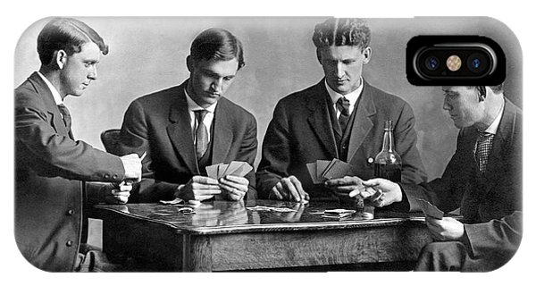 1880s iPhone Case - Four Men Playing Cards by Underwood Archives