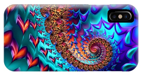 Fractal Sea Of Love With Hearts IPhone Case