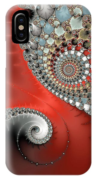 Fractal Spiral Art Red Grey And Light Blue IPhone Case