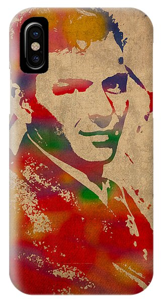Frank Sinatra iPhone Case - Frank Sinatra Watercolor Portrait On Worn Distressed Canvas by Design Turnpike