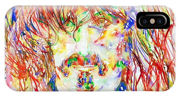 Frank Zappa iPhone Case - Frank Zappa Watercolor Portrait.1 by Fabrizio Cassetta