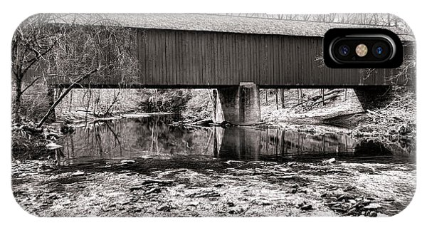 Covered Bridge iPhone Case - Frankenfield Bridge Over The Tinicum Creek by Olivier Le Queinec