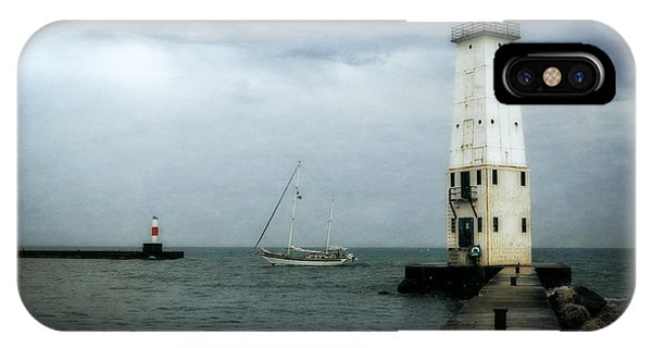 Michelle iPhone Case - Frankfort Lighthouse With Sailboat by Michelle Calkins