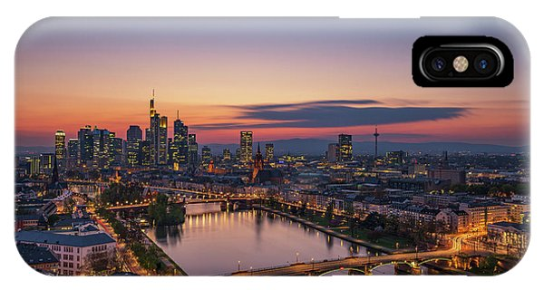 Long Exposure iPhone Case - Frankfurt Skyline At Sunset by Robin Oelschlegel
