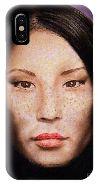 Leading Actress iPhone Case - Freckle Faced Beauty Lucy Liu  IIi Altered Version by Jim Fitzpatrick